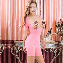 Porn Bodysuit Erotic-Jumpsuit Sexy Tight Open-Chest High-Elasticity Soft Couple Sex-Games