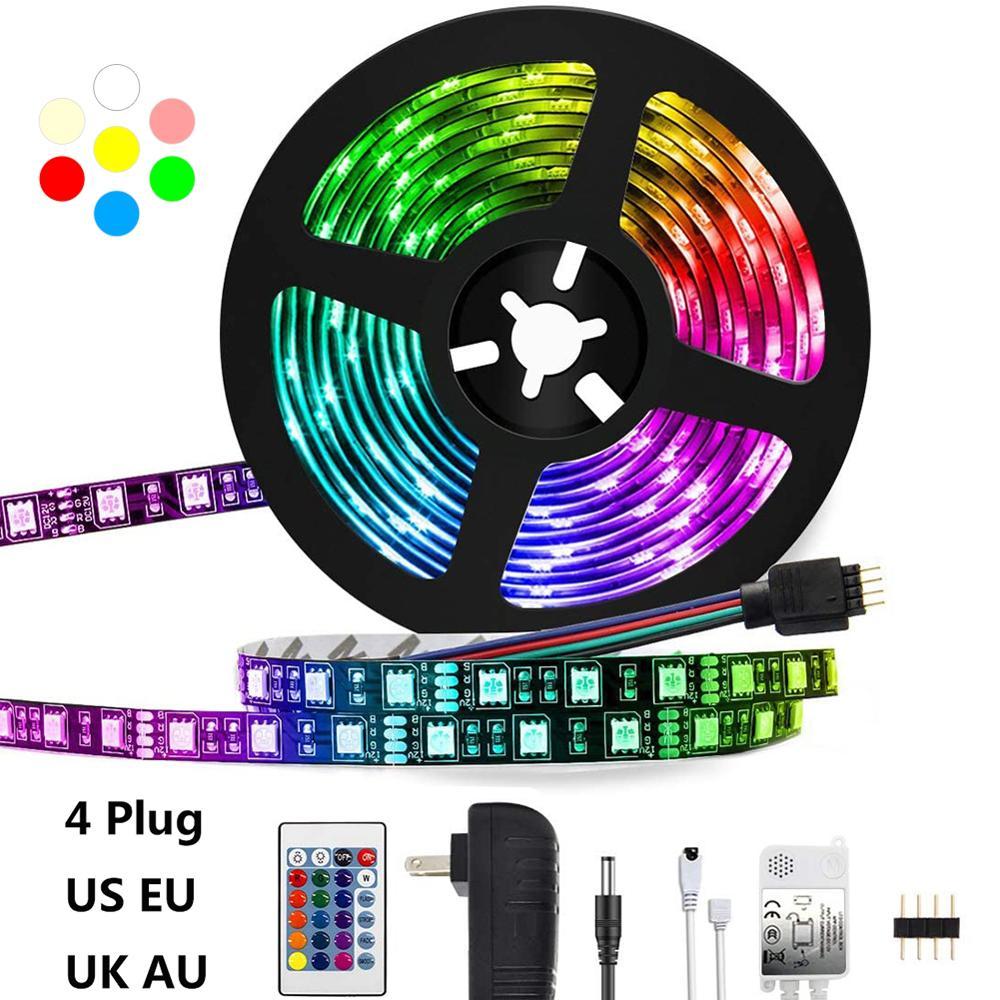 LEADLY LED Strip Light RGB 2835 Flexible Ribbon Fita Led Light Strip RGB 5M 24 44 Keys Tape Diode DC 12V Remote Control US Plug