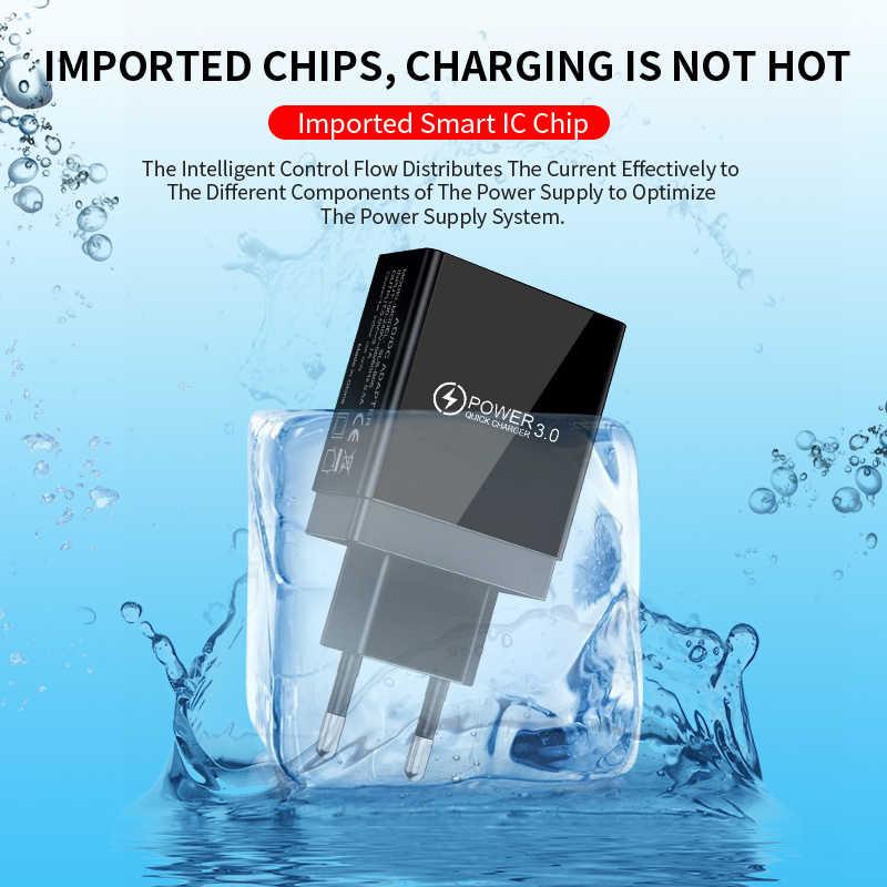 Digital Display USB Charger Quick Charge 3.0 3 Port USB Ponsel Charger untuk iPhone 7 Samsung Tablet Adaptor Cepat pengisian