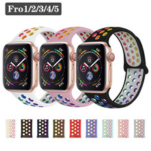 Breathable Silicone Sport band For Apple Watch 40mm 44mm 38mm 42mm strap iwatch 5 4 3 2 1 rainbow apple watch band Accessories(Китай)