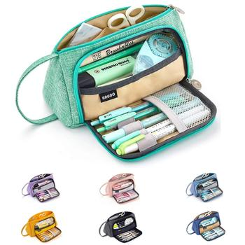 Angoo [Pure] Color Pencil Case, Multi Slot Pen Bag, Big Storage Pouch Organizer For Stationery Cosmetic Travel Wallet A6443