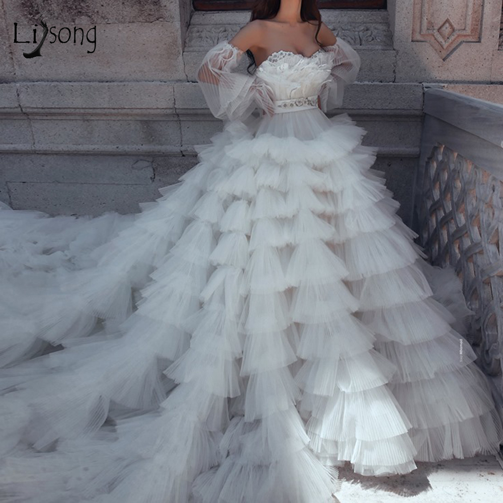 Fashion Puffy Ruffles Tutu Wedding Dresses 3D Flower Feather Ball Gowns Pretty 2010 Bridal Dresses Detachable Full Sleeves