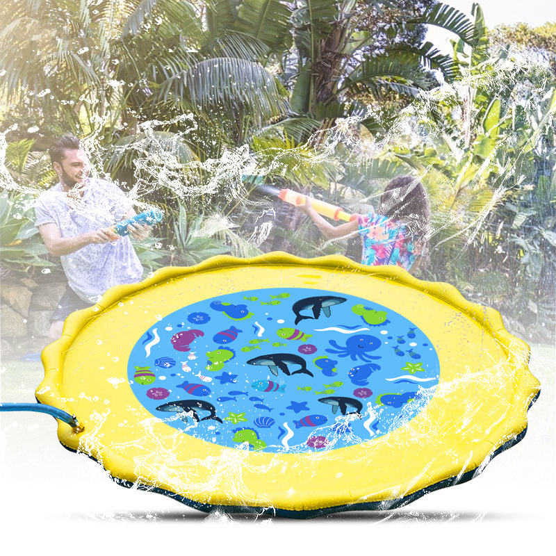 Cartoon Children Water Spray Toy Summer Water Sprinkler Spray Mat PVC Inflatable Outdoor Lawn Game Water Pads Kids Funny Toys