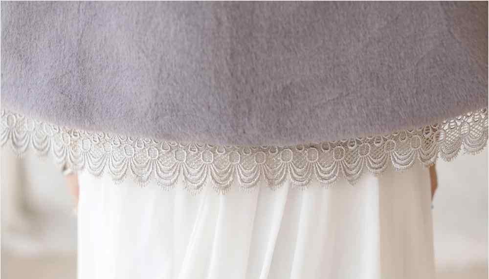 Shamai Abu-abu Wanita Musim Dingin Pengantin Selendang Renda Renda Bridal Wraps Hangat Faux Bulu Pernikahan Bungkus Bolero Pernikahan Selendang Pesta Malam cape