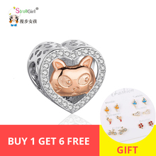 StrollGirl New 925 Sterling Silver Heart Rose Gold Cat Beads with CZ Fit Authentic pandora Bracelets DIY Jewelry For Lover Gifts