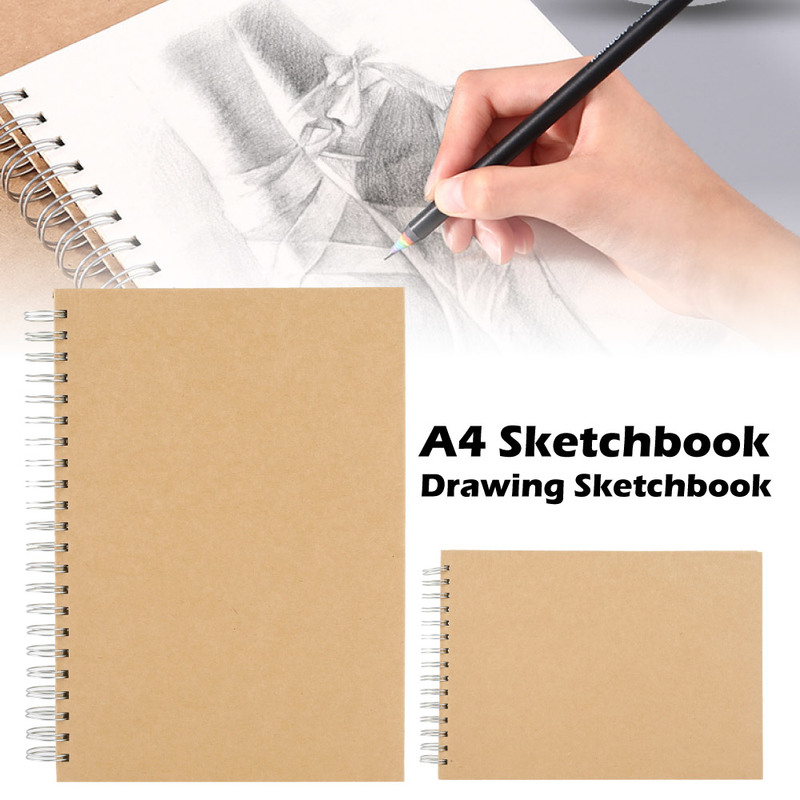 50 Page A4 Sketchbook For Drawing Retro Spiral Coil Notebook Journal Student Note Pad Book Memo Sketch Pad Painting Paper