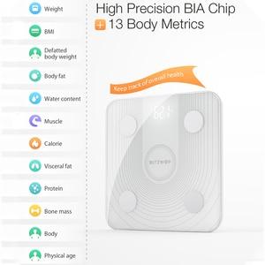 Image 5 - BlitzWolf báscula de cuerpo inteligente, BW SC1, 2,4 GHz, WiFi, Control de grasa, aplicación remota, análisis de datos de IMC, 13 métricas corporales, báscula de peso Digital