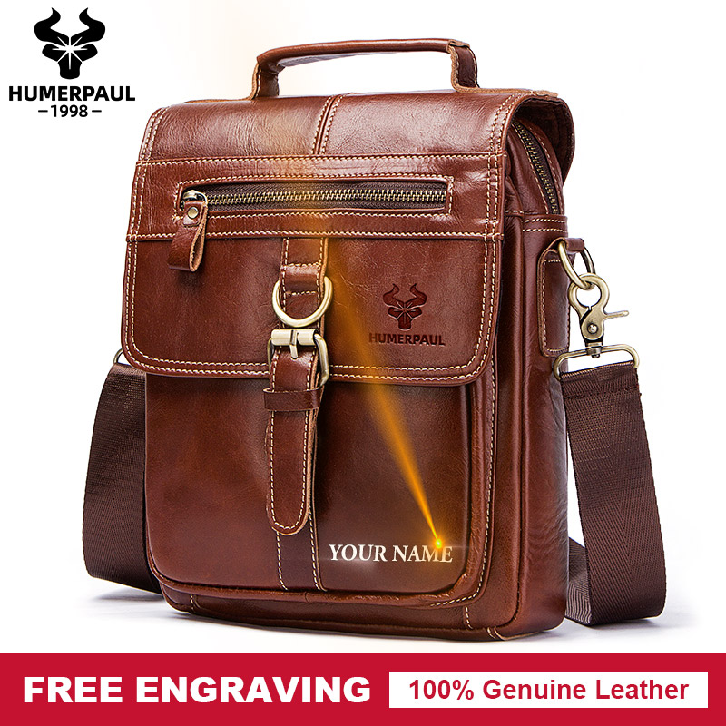 Famous Brand Genuine Leather Shoulder Bag Men Messenger Bags Handbag Busines Bolsas Travel Brand Crossbody Bag For Ipad Tote