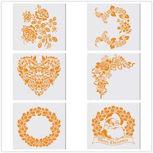 Frame Christmas Santa Wall Stencil Airbrush Painting For Home Decoration Plastic Stencils