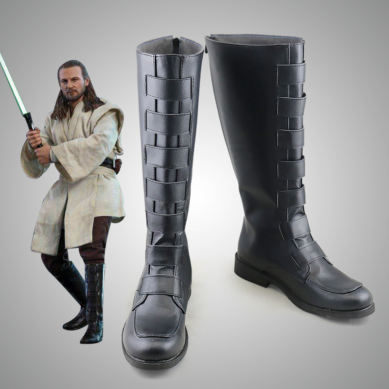 Star Wars: The Last Jedi Jedi Knight Qui-Gon Jinn shoes cosplay adults men women boots shoes Halloween Fashion Long shoes