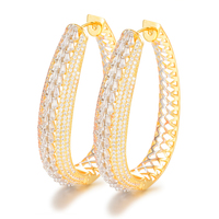 SisCathy 2019 Charms Oval Circle Full Micro Zircon Earrings Fashion Women Hoop Earrings For Women Bridal Wedding Ear Jewelry