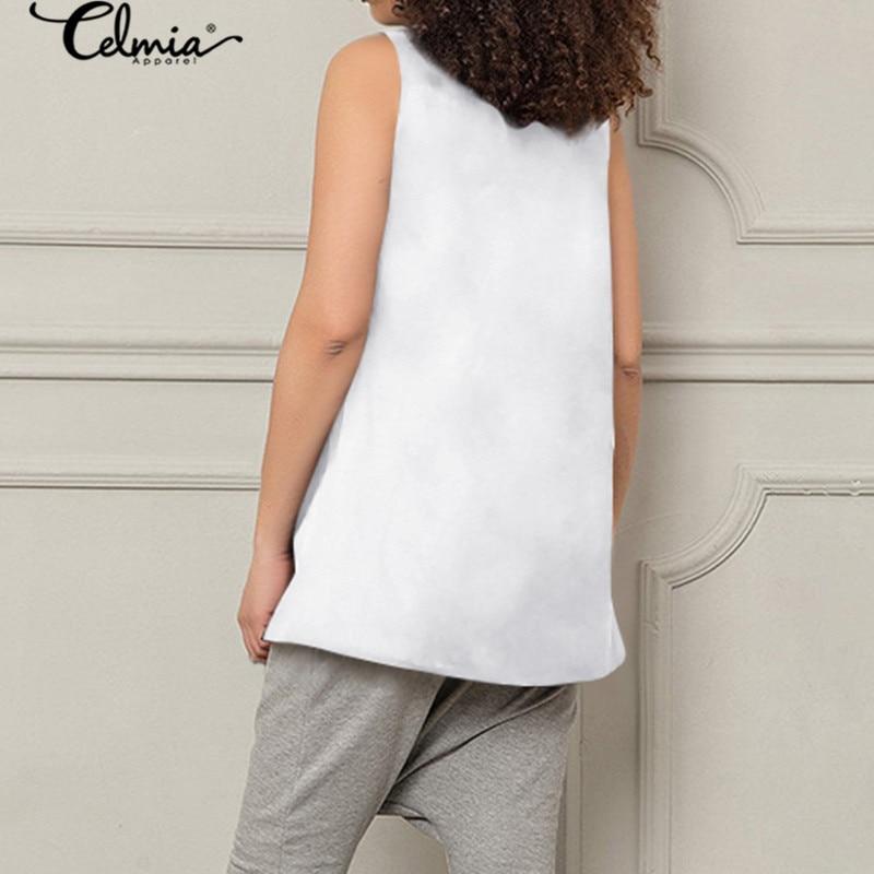 2020 Summer Asymmetrical Shirt Celmia Women Sleeveless Female Tops Blouses Buttons Vintage Casual Loose Work Blusas Femme 5XL