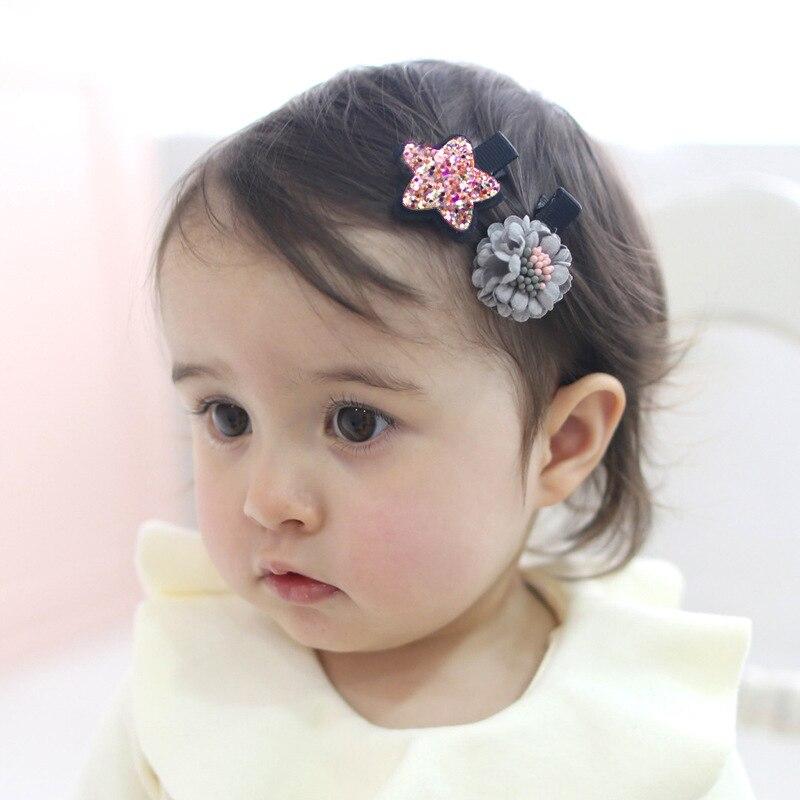 2PC Lovely Pentastar Floret Combination Children's Series Hair Grips Sweet Girls Hair Pins Liuhaiclip Hair Accessories HeadWear