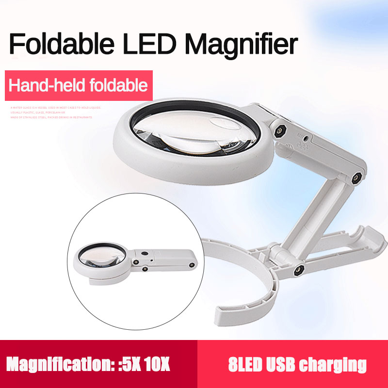 5X 10X Handheld Folding Lamp Loupe Magnifier Reading Portable Illuminated Magnifying Glass with 8 LED Lights for Newspaper