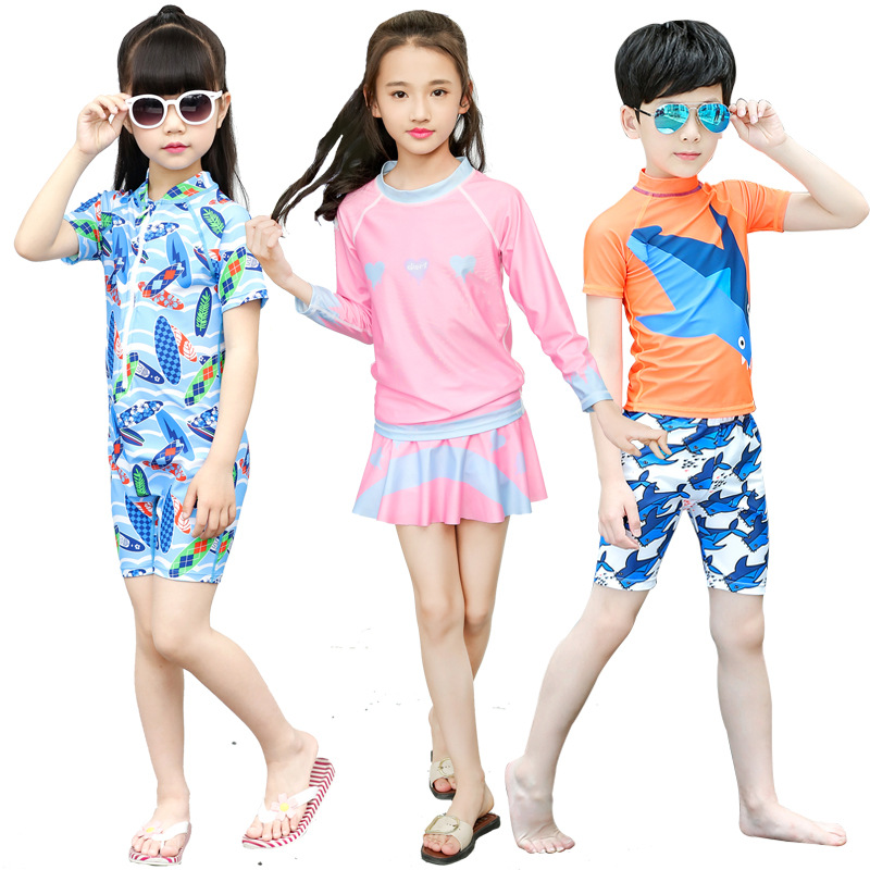 Sbart Casual Beach Men And Women Children CHILDREN'S Cartoon Split Type One-piece Long Sleeve Swimming Snorkeling Bathing Suit C