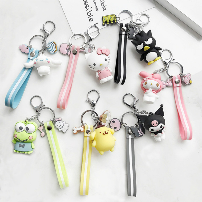 Creative Sanrio Series My Melody Pudding Cinnamoroll Dog KT  Keychain Bag Pendant Keyring For Girls Figure Toy Accessories
