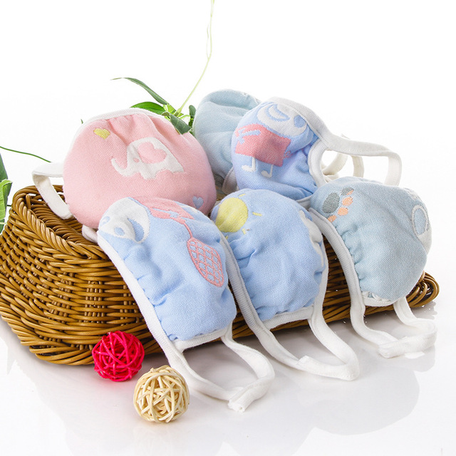 5PCS/lot 6 Layers Gauze Cotton Baby Kids Mask Dustproof Mouth Face Mask Animals Children Face Mouth Masks for Baby 1-12Yea 3