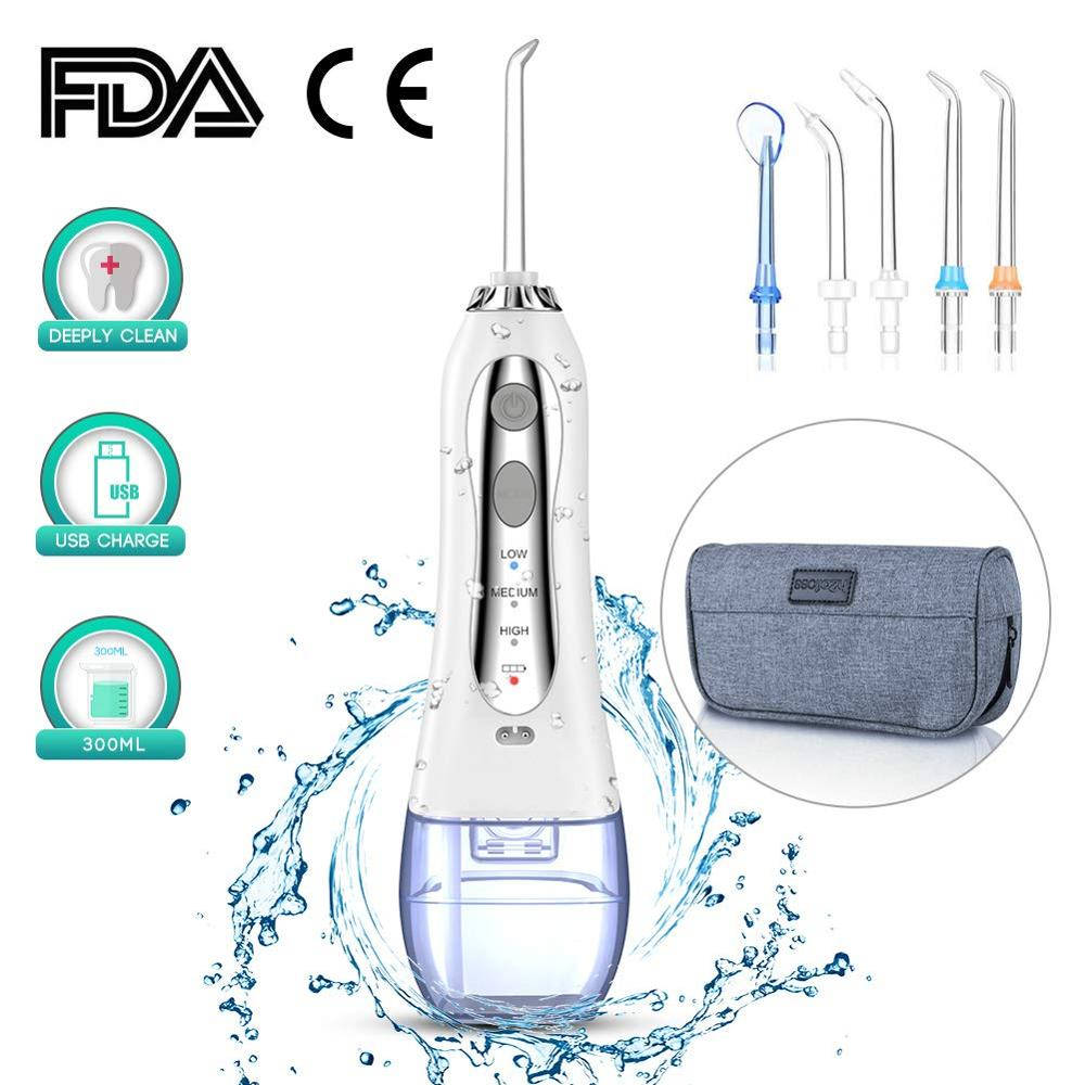 300ml Oral Irrigator 3 Mode USB Rechargeable Dental Water Flosser Jet Portable Irrigator Dental Water Floss Teeth Cleaner+5x Tip