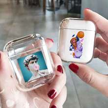 LAUGH LIFE Transparent Statue Luxury Earphone Case For Airpods Black Art Style Cases Cover Accessories