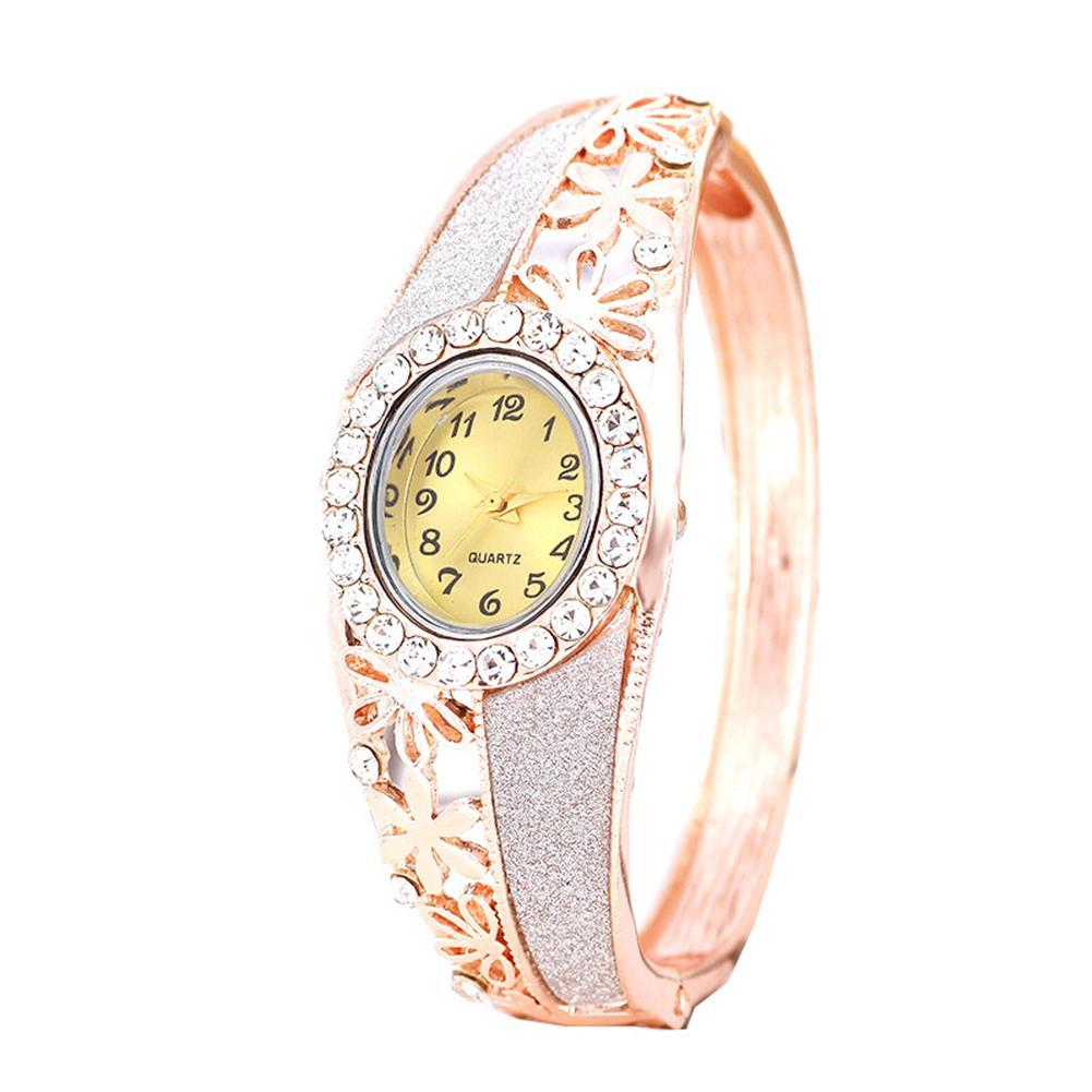 Ladies Watch Luxury Rhinestone Hollow Flower Women's Watch Band Oval Dial Analog Women Wristwatches Clock Relogio Feminino