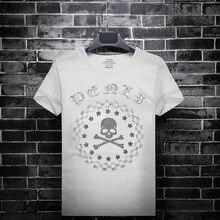 2019 Skull Rhinestones Camiseta Hombre Inglaterra Estilo Ropa de moda