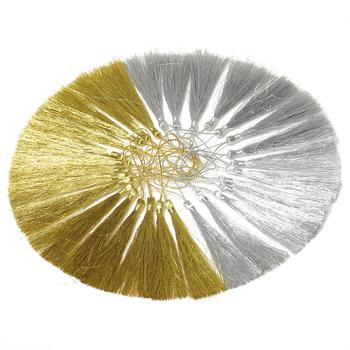 50 sztuk partia 120mm złoty srebrny kolczyk frędzle bawełna jedwabne kolczyki urok wisiorek satynowe frędzle dla DIY tworzenia biżuterii ustalenia tanie i dobre opinie MINGXUAN Sznury 0inch Nylon cords 6inch C402 Jewelry Findings gold silver 50pcs lot decoration silk tassels cotton tassel
