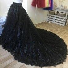 Skirt Detachable-Train Black Bride Women Lace Long Applique Banquet Custom-Color Formal