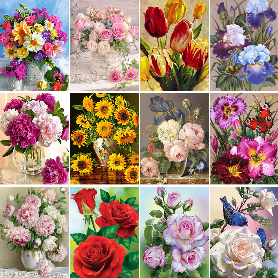 5D DIY Flower Diamond Painting Cross Stitch Full Square Round Drill Embroidery Colorful Handmade Home Room Wall Decor Craft