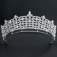 Zirconia Honeycomb Greville Replica Tiara for Wedding,Crystal Queens Tiaras for Bride CH10358