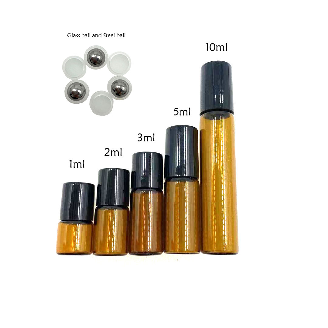 5pcs/Pack 1ml 2ml 3ml 5ml 10ml Clear / Amber Glass Roll on Bottle with Metal Ball Thin Glass Roller Essential Oil Vials Perfume