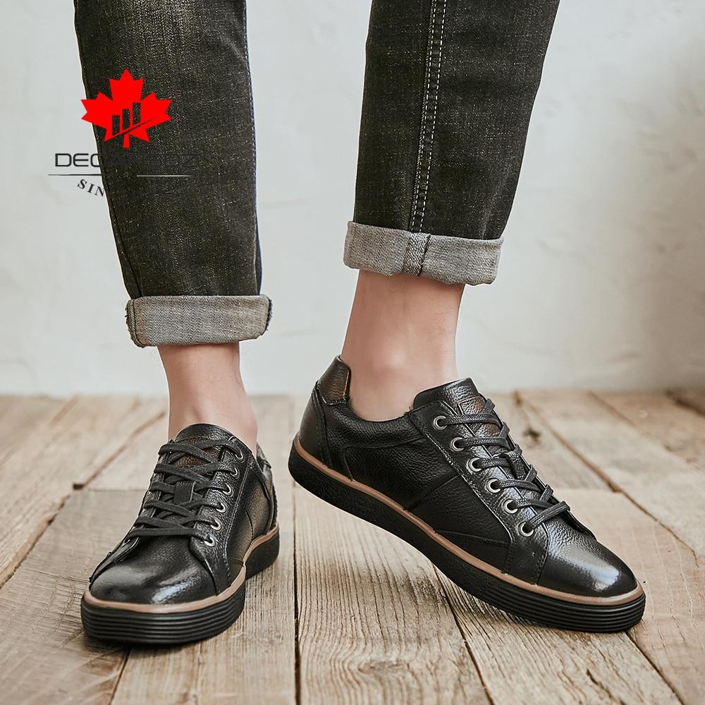 DECARSDZ Men Geunine Leather Shoes Man 2021 Spring Autumn Fashion Comfy Lace-Up Men Shoes High Quality Men Causal Shoes 6