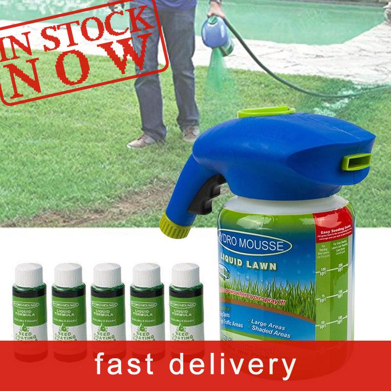 Garden Seed Sprayer Set Hydro Mousse Spray + Liquid Potion Gardening Grass Lawn Watering Can Sprinkler Household Seeding System