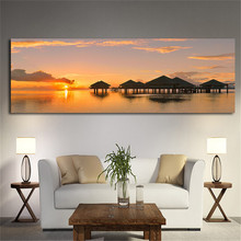 Oil Painting Art Poster on The Water Village In The Sunset Warm Living Room Home Decoration Print Canvas Frameless Oil Painting