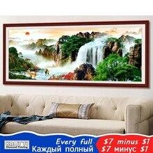 """Kamy Yi Volledige Vierkante/Ronde Boor 5D Diy Diamant Schilderij """"Bos Waterval"""" Borduren Kruissteek Mozaïek Home decor Gift Hyy"""