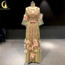 Рейн реальные фотографии Marchesa с розовым пером и цветы роскошные бусы длина пола пром платья вечерние платья длинные