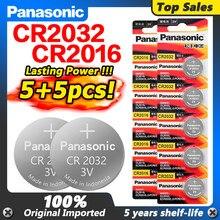 PANASONIC 3v 5 sztuk Cr2016 + 5 sztuk Cr2032 Batteris CR 2032 2032 CR 2016 monety Pilas dla zegarów zegary pilot cyfrowy skala