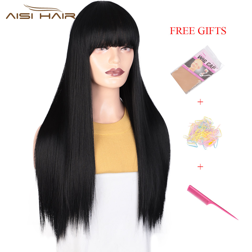 I's A Wig Black Long Straight Wig With Bangs Synthetic Hair Wigs For Women 613 Blonde Black Heat Resistant Cosplay Wigs