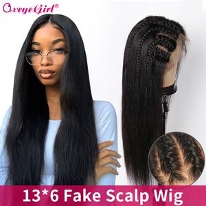 Image 1 - Oxeye kız 13x6 dantel ön İnsan saç peruk ön koparıp sahte saç derisi peruk 10 26 brezilyalı saç düz dantel ön peruk Remy saç