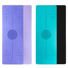 Mata do jogi TPE z linią pozycji Fitness maty gimnastyczne dwuwarstwowe antypoślizgowe początkujący Sport dywaniki damskie 6mm maty joga tanie tanio CN (pochodzenie) 6 mm (dla początkujących) 1688-1 180cm*57cm Pink Purple Blue Green 1800*570*6mm workout mat yoga mats fitness yoga mats chakras