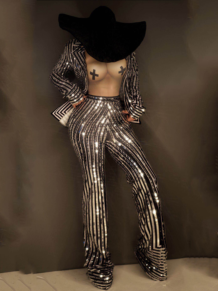 Splending Singer Costume Silver Stripe Coat Jumpsuit Nude Print Punk Nightclub Club Evening Party Show Outfits Stage Clothing