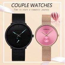 CRRJU zegarek dla zakochanych moda wodoodporna stal nierdzewna Mesh zegarki dla par najlepsze prezenty walentynkowe dla kochanka gorąca sprzedaż