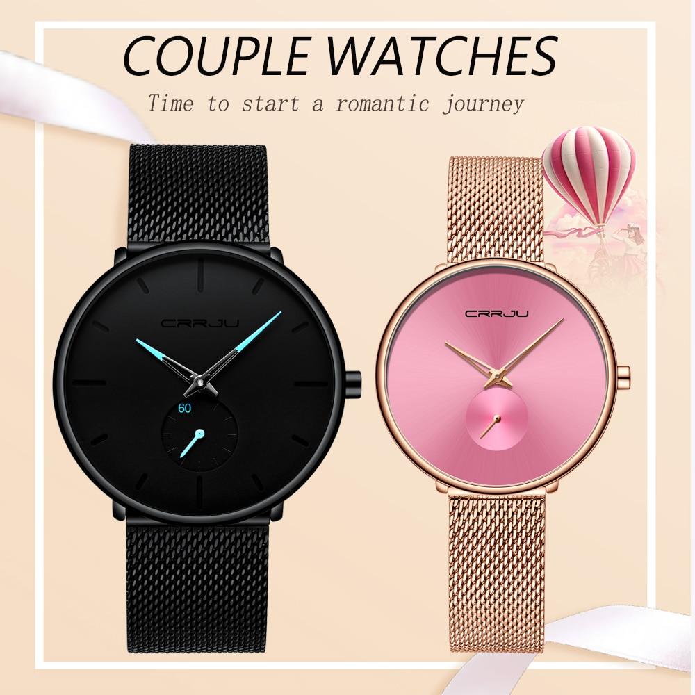 Reloj de pulsera de pareja de malla de acero inoxidable resistente al agua de moda para amantes de CRRJU el mejor regalo para enamorado gran oferta del Día de San Valentín CHENXI, relojes de cuarzo para parejas de amantes de la mejor marca, relojes de San Valentín para mujer, relojes de pulsera impermeables para mujer de 30m