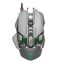 Rgb iluminado mecânico com fio mouse 7 teclas 6400 dpi definição ajustável gamer mouse acessórios para computador
