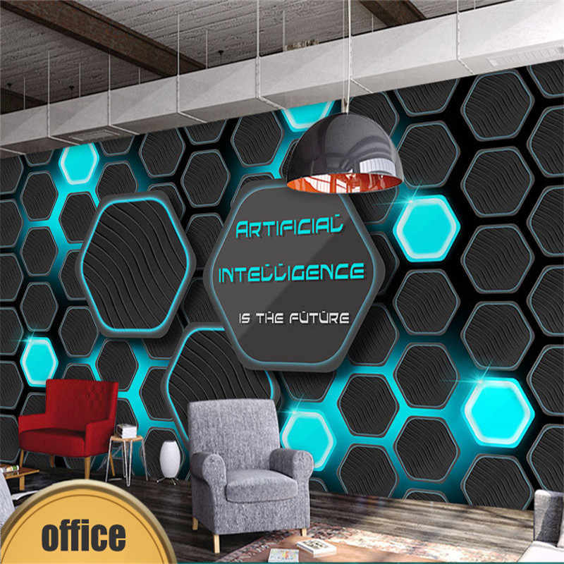 3d Technology Theme Geometry Mural Wallpaper For It Company
