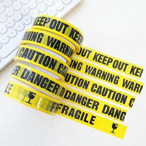 Image 1 - 25 м DIY декоративные Предупреждающие ленты, украшения для Хэллоуина, уличные страшные вечерние ленты для строительства, вечеринки на день рождения, вечерние ленты с предостережением