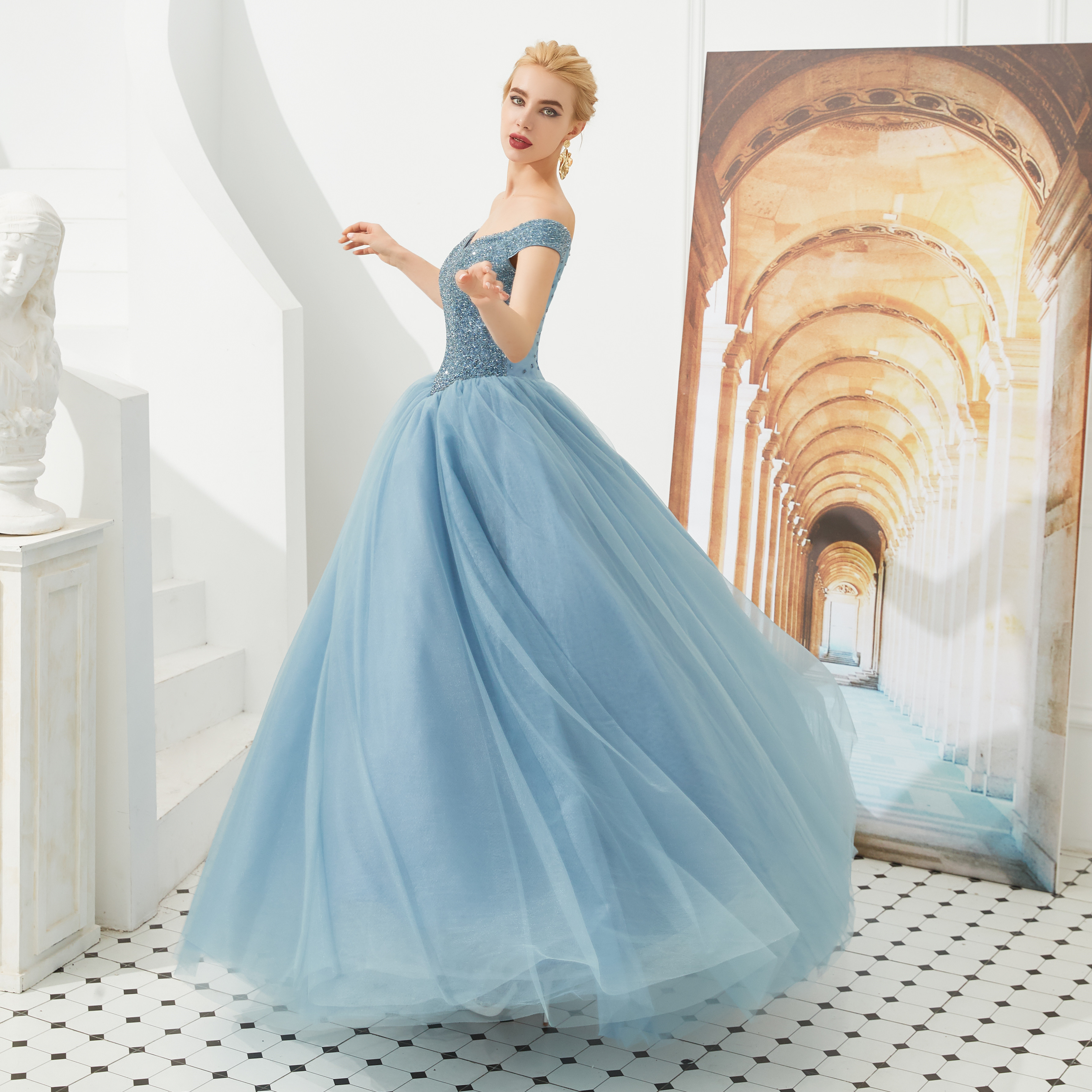 Princess   Prom     Dress   off the shoulder Ball Gown Sweet 15 Years Crystal   Prom   praty Gowns