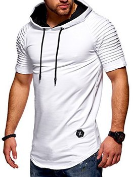 Men's T-shirt Pleated Striped Fitness Hooded Casual Sport T-shirt openwork lace splicing striped t shirt with pocket