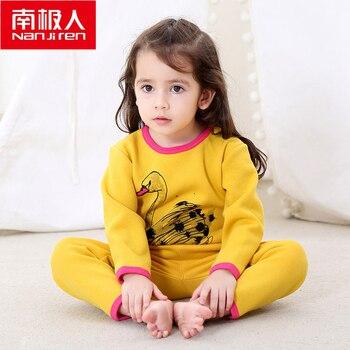 NANJIREN 0-2year Baby Girl Clothes Gold Fleece Long Johns Child Winter Cotton Warm Pajamas Thicken Cartoons Thermal Underwear
