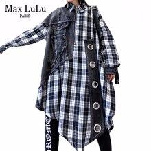 Max LuLu 2020 Spring Korean Style Ladies Loose Dresses Womens Denim Patchwork Dress Plaid Vintage Streetwear Vestidos Plus Size
