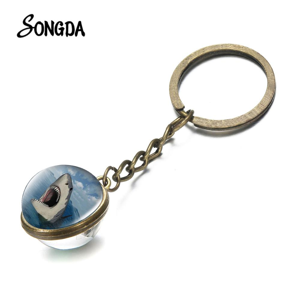 Sea Animals Dolphin Shark Turtle  Keychain Sea Animel Theme Art Photo Double Sided Key Chain Glass Dome Kids Jewelry Gift